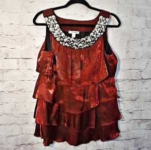 DRESSBARN Irredescent Burgundy Layered Top